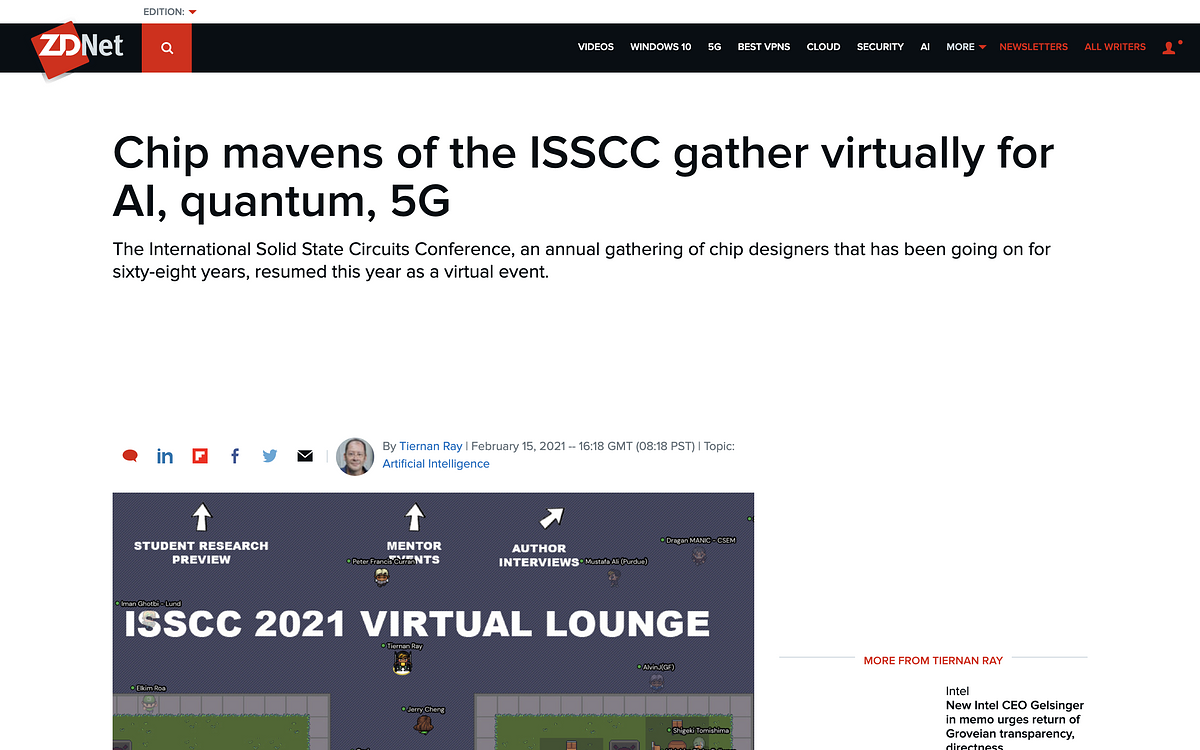 photpo ZDNet Features 68th Annual International Solid States Circuits Conference (ISSCC) On Underline